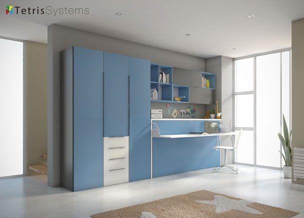 Cama abatible horiz escritorio plegable y armario for Armarios de habitacion ikea