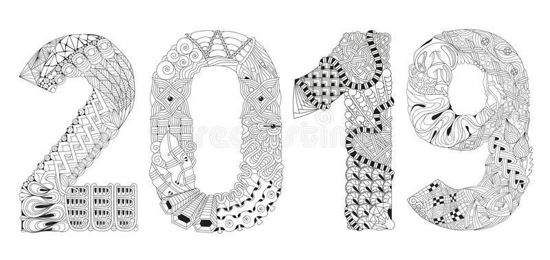 Number 2019 Zentangle Vector Decorative