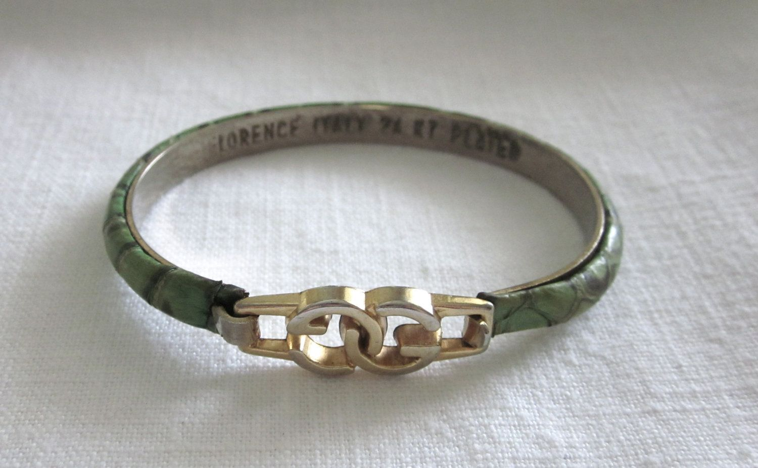 8a702aa3c81 Vintage GUCCI SNAKESKIN 24kt Gold Plated BRACELET Green Italy Florence.   48.50