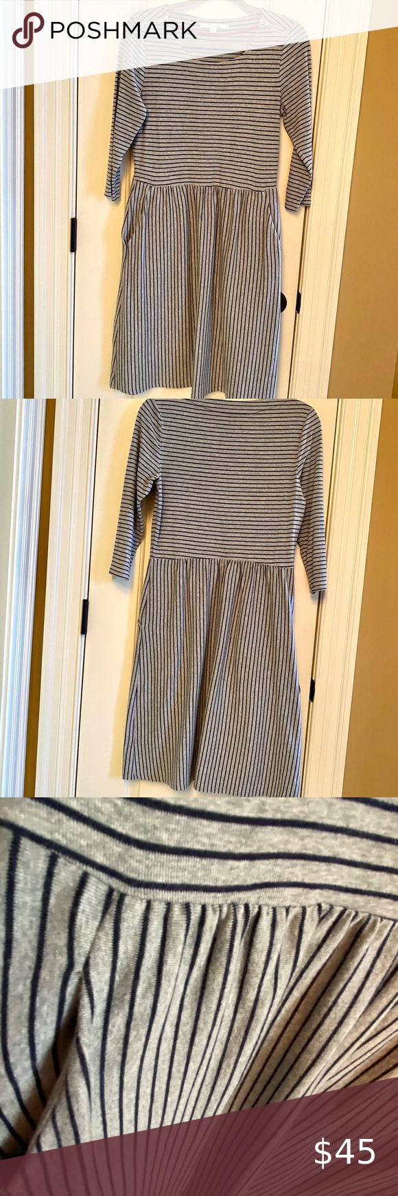 Boden Janie Dress - Gray/Black Stripe - Size 10L B
