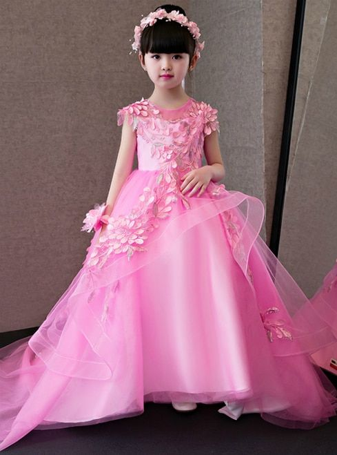 In Stock:Ship in 48 hours Pink Hi Lo Tulle Flower Girl Dress #babygirlpartydresses