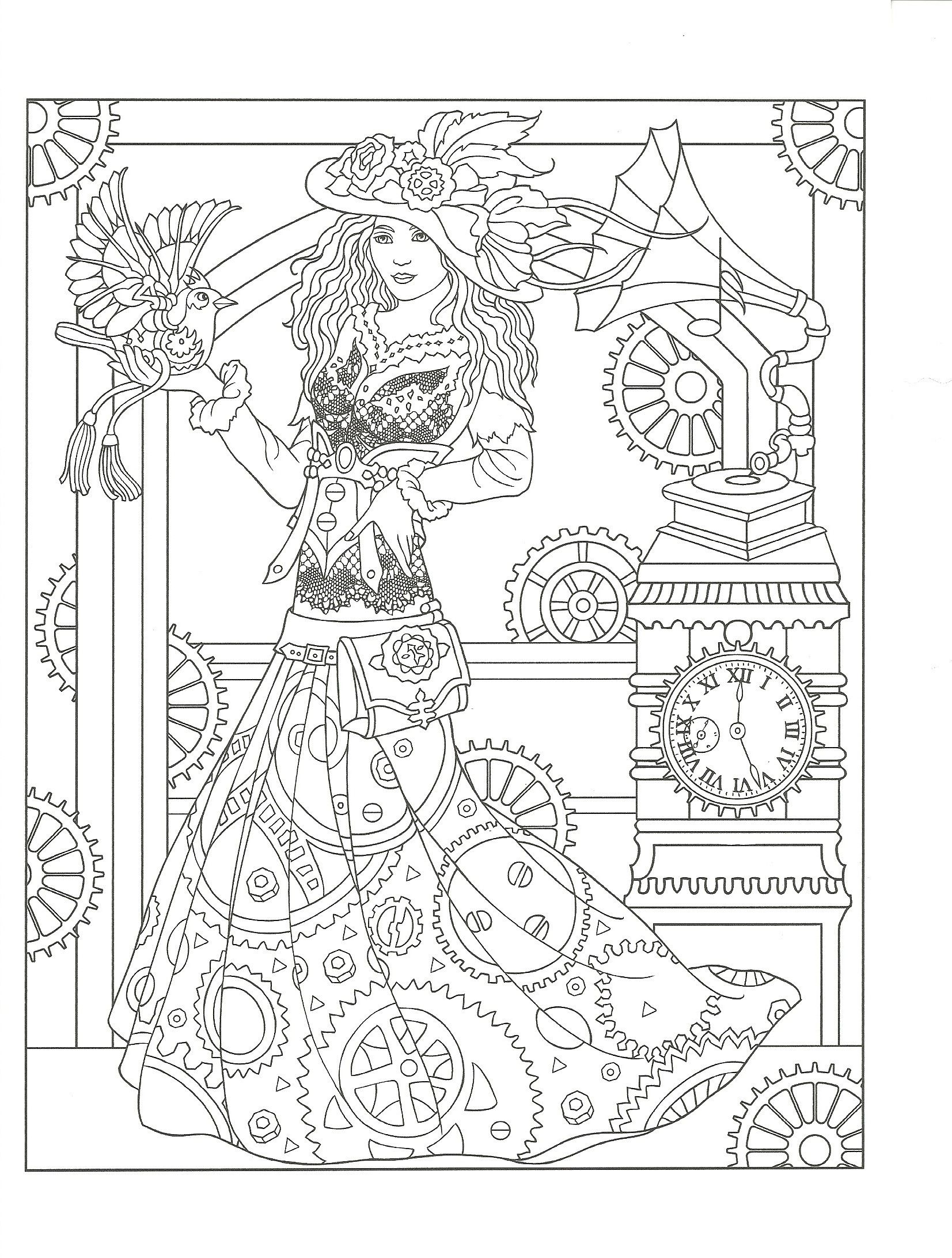 Flower drawings on pinterest dover publications coloring pages and - Adult Coloring Page From Creative Haven Steampunk Fashions Coloring Book Dover Publications Artwork By