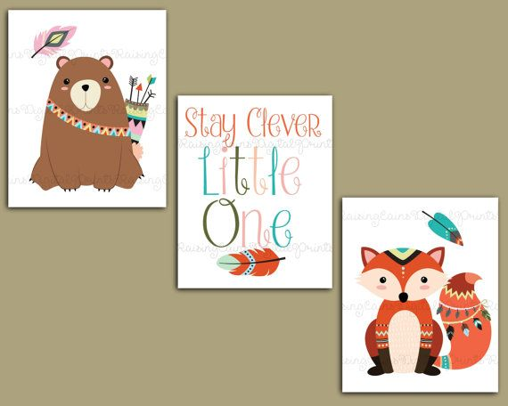 Woodland animals prints-Woodland animals wall by Raising3Cains