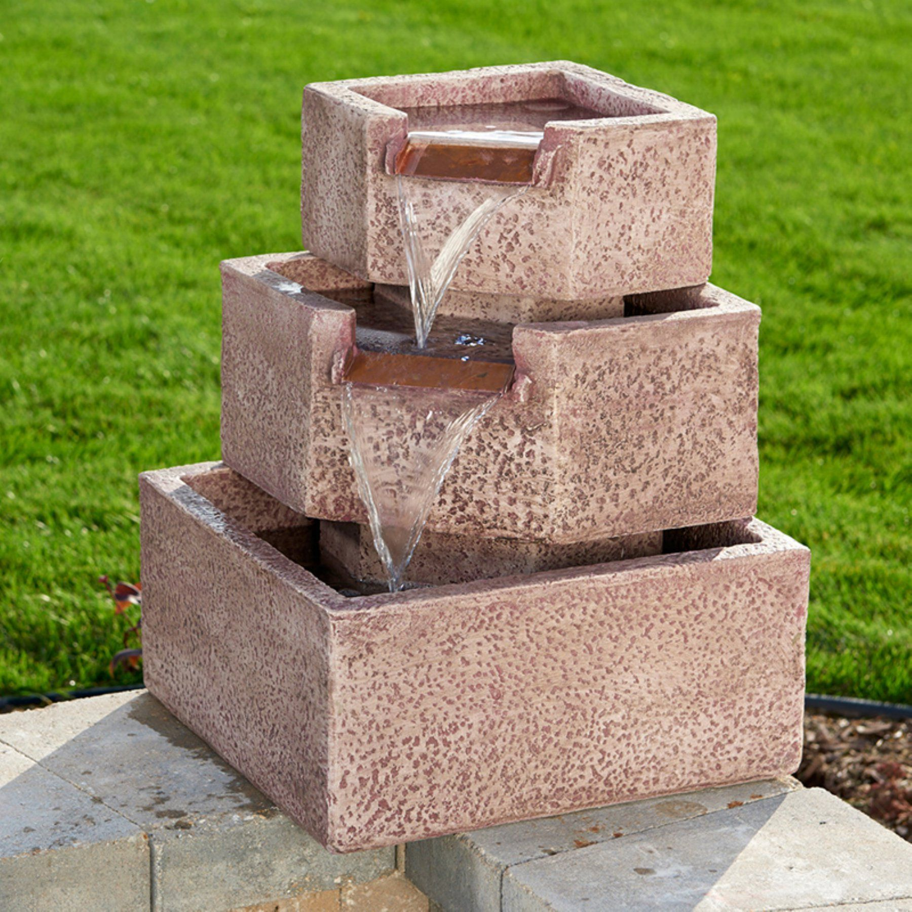 Cascadia Falls Corner Outdoor Fountain With LED Lights   46200