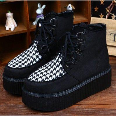 houndstooth platforms| free shipping!  punk goth 90s harajuku grunge fachin platforms creepers flatforms shoes free shipping yoyomelody