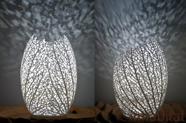 Nervous System S Ethereal 3d Printed Led Leaf Lamps Shine Light On Natural Design Lamp Design Lamp Interior Design Gifts
