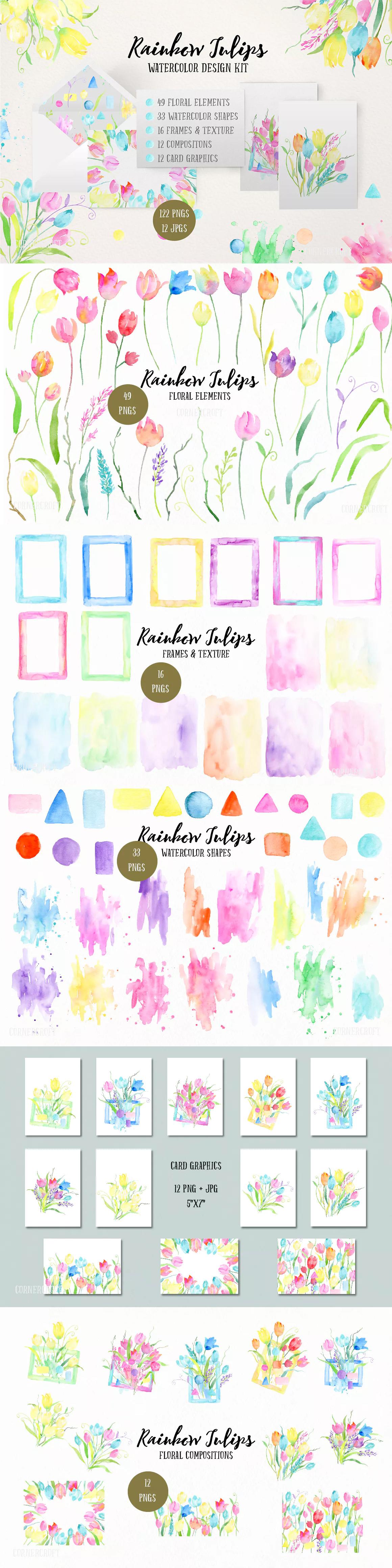 watercolor design kit rainbow tulips template png wedding