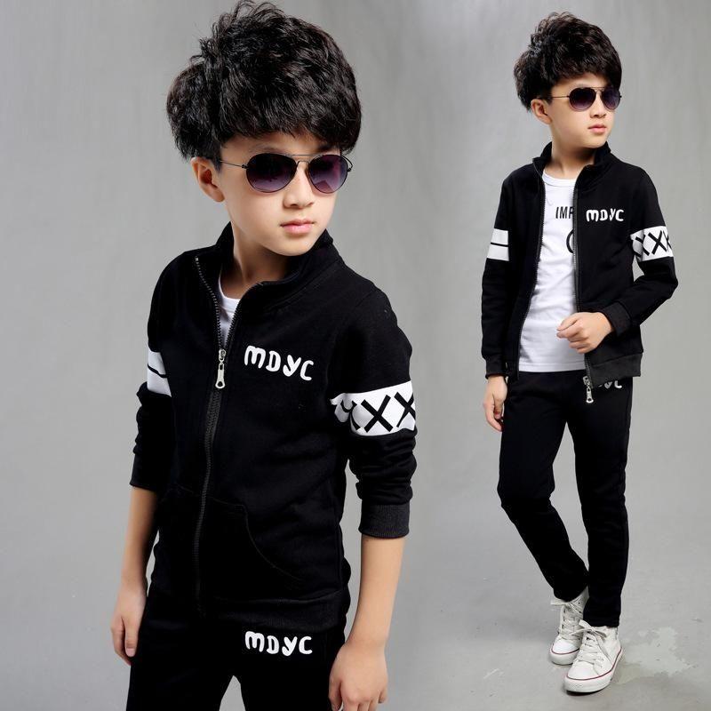 a7b36c5175d07 Children's Kids Autumn Boy Outfit Sports Suit Set Children Outfits  Tracksuit Clothes Jogging Baby Clothes Style