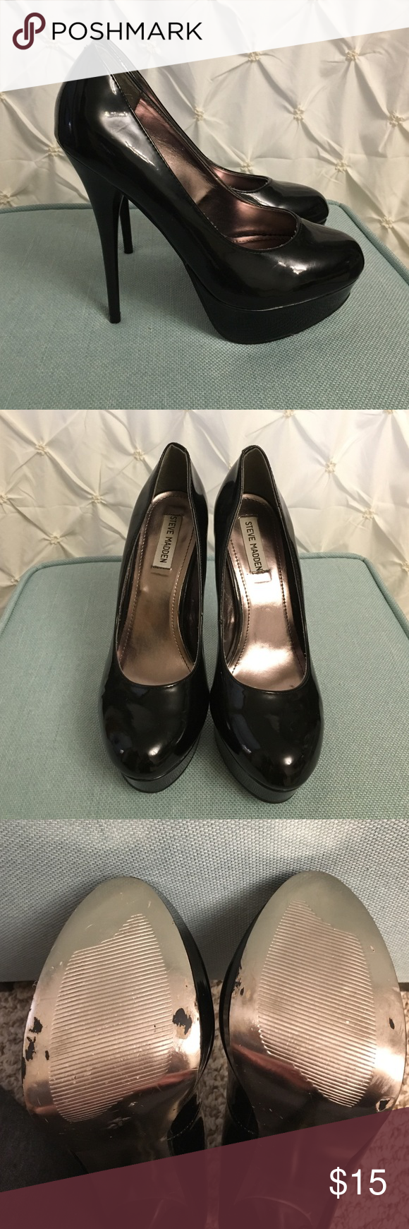 "Steve Madden Heels Black platform heels. 5.5"" heel. Platform ~1.5"". White scuff on left toe. Steve Madden Shoes Heels"
