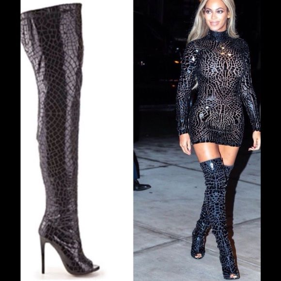 Sold****bebe thigh high peep toe beyoncé boots! nwt | Sexy, Tom ...