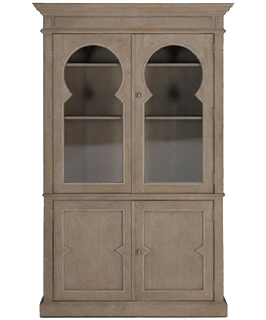 Oak Keystone Cabinet with Glass Doors