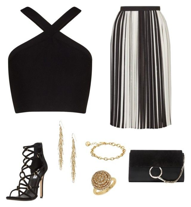 """""""Stripe skirt - Casual"""" by brittjade ❤ liked on Polyvore featuring Topshop, BCBGMAXAZRIA, Dune, Banana Republic, Kate Spade, Chloé and BaubleBar"""