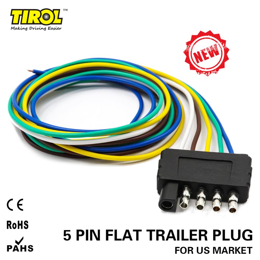 TIROL 5-Way Flat Trailer Wire Harness Extension Connector ... on
