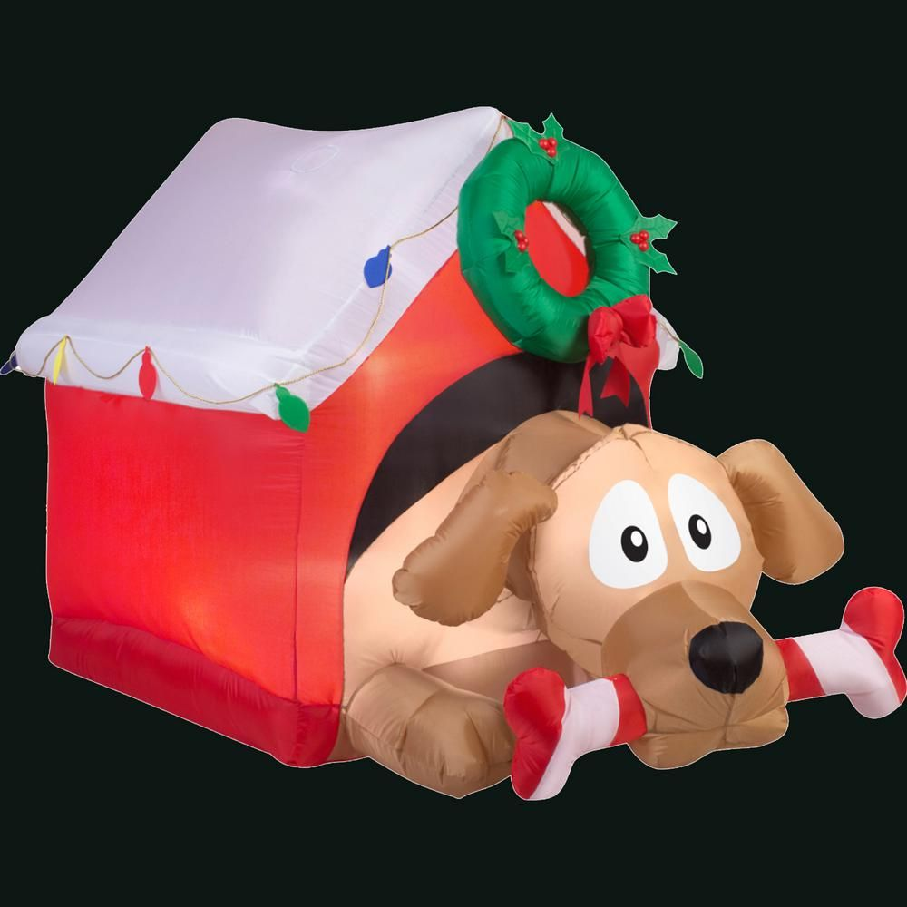 W Inflatable Animated Dog With Candy Cane Bone