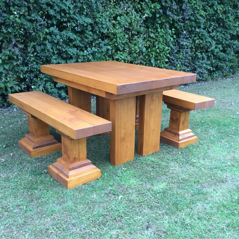Chunky Small Wooden Garden Table And Benches Garden Furniture Wooden Furniture Ebay In 2020 Front Yard Garden Design Wooden Garden Furniture Wooden Garden