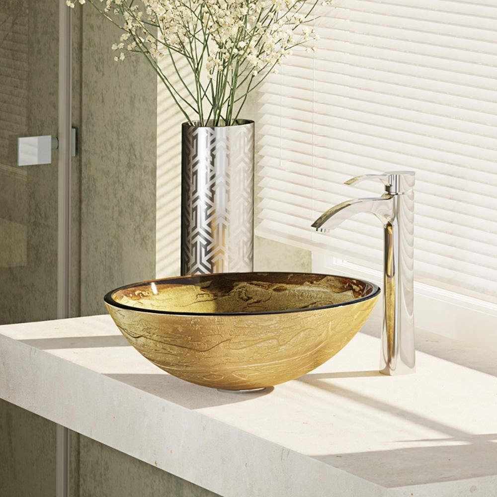 Includes Sink Choice Of Faucet Sink Ring Drain Choice Of Finish The Solid Gold Textured Exterior Of This C Glass Vessel Sinks Sink Glass Vessel