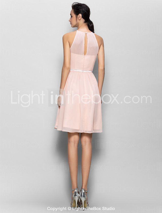 LAN TING BRIDE Knee-length Georgette Bridesmaid Dress - A-line Jewel ...