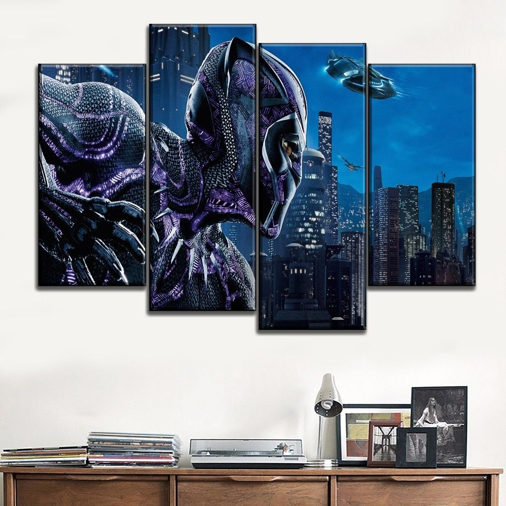 Black Panther In The City Night Marvel 4 Pieces Canvas Wall Art Wall Art Canvas Wall Art Art