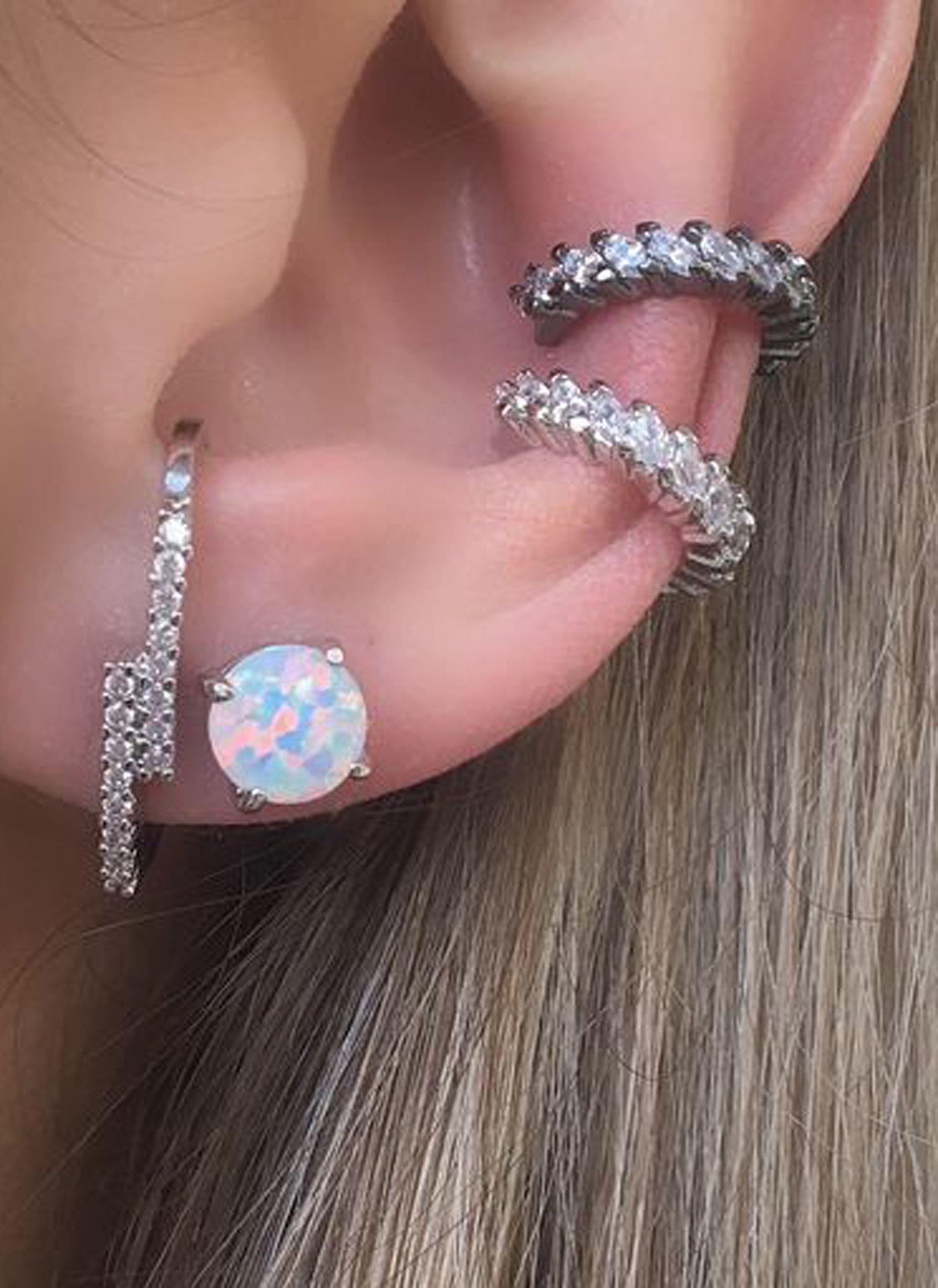 Body piercing earrings  Opal Stud Earrings in Silver  Ear Piercing Ideas  Pinterest  Ear