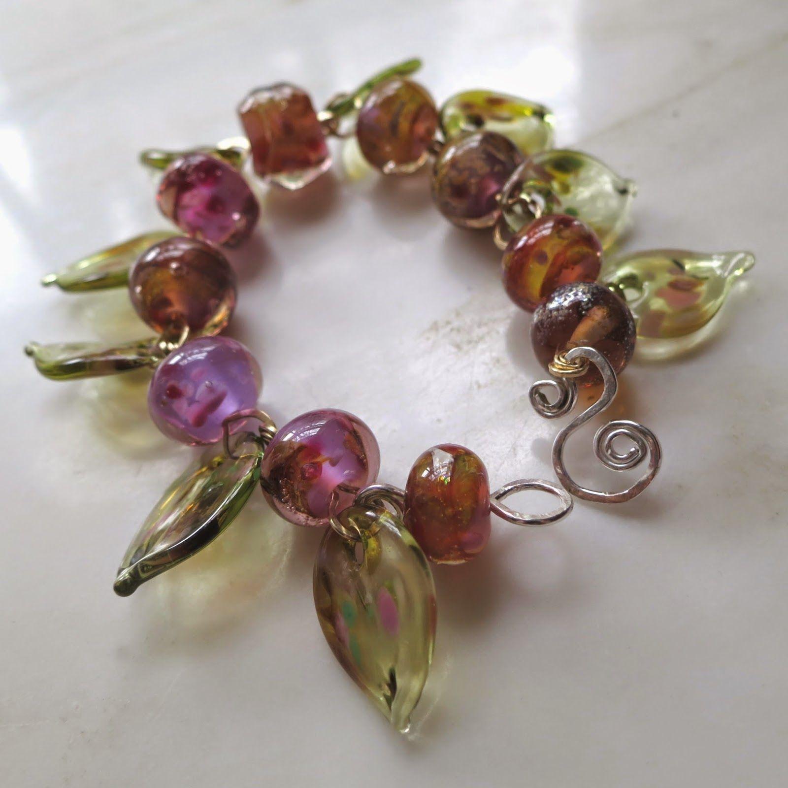 Lucinda Storms : Belvedere Beads - 'Pink Berries' bracelet - lampwork glass, bronze & sterling silver