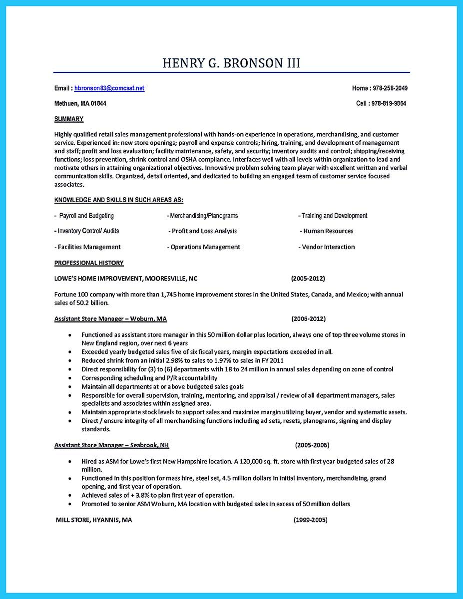 Retail Assistant Manager Resume You Can Start Writing Assistant Store Manager Resume