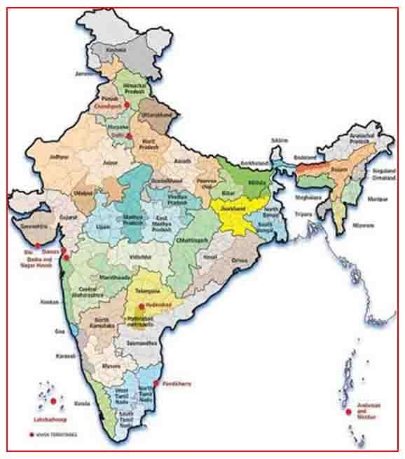 union territories of india on map