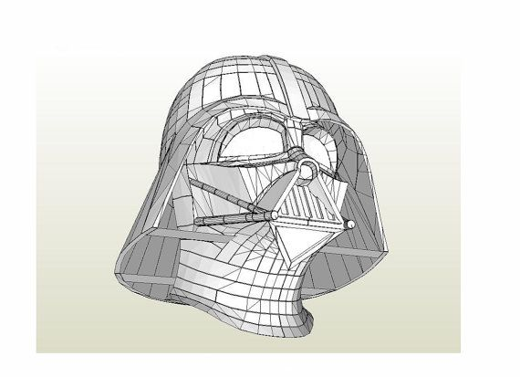 Darth Vader helmet Star Wars 1:1 Full scale Life-size DIY printable ...