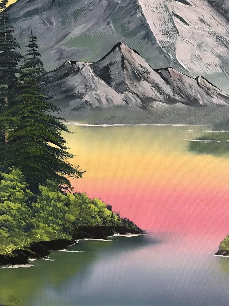 Gray Mountain Bob Ross Style Oil Painting Original Etsy In 2021 Bob Ross Paintings Bob Ross Gallery Wrap Canvas