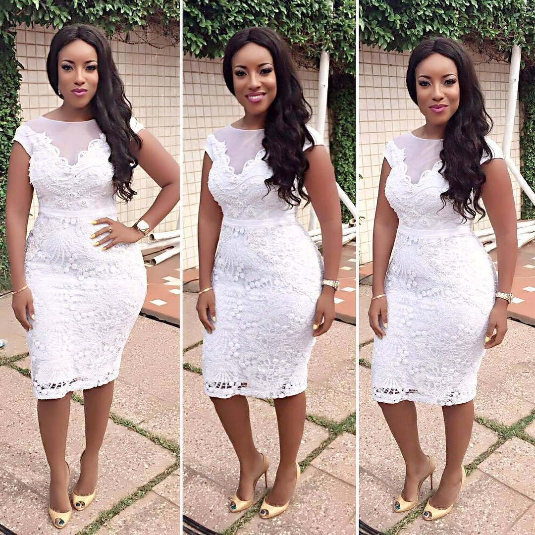 Joselyn Dumas Flaunts Her Gorgeous Figure In Flattering Knee Length Dress Wedding Digest Lace White Dress Latest African Fashion Dresses African Lace Dresses