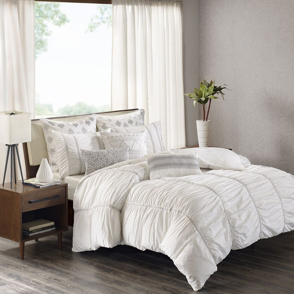 Luxury 3pc White Ruched Comforter Bedding Set And Matching Pillow Shams