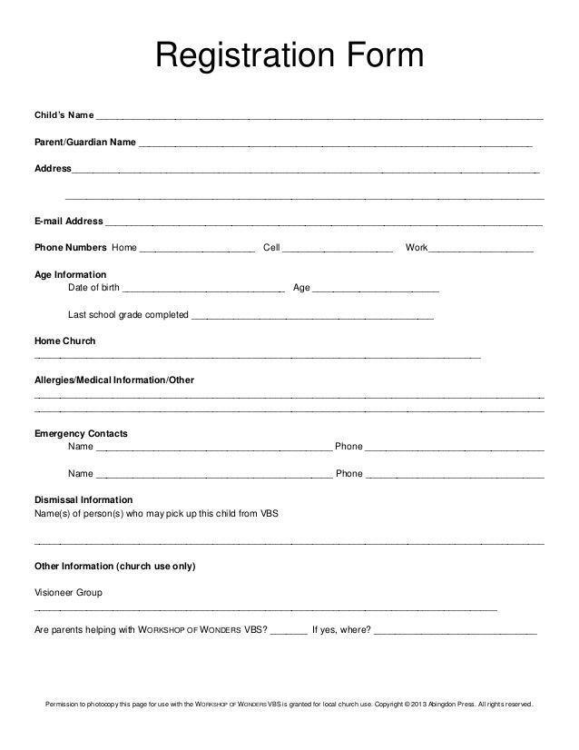 Registration form child s name for Course enrolment form template