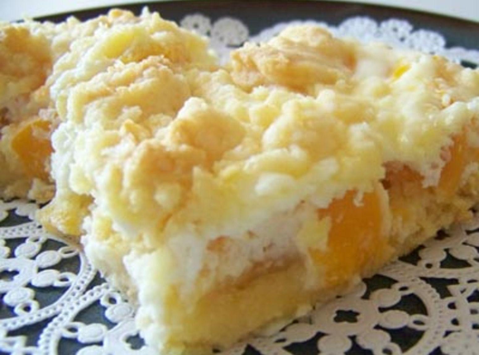 Cake mix, cream cheese and peaches. summer dessert-yum!