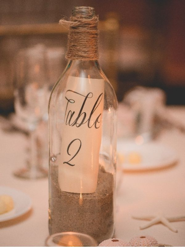 Message In A Bottle Table Numbers Beach Wedding With Images
