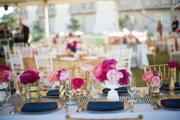 Color Crush Fuchsia Navy And Gold Blue Wedding Decorations