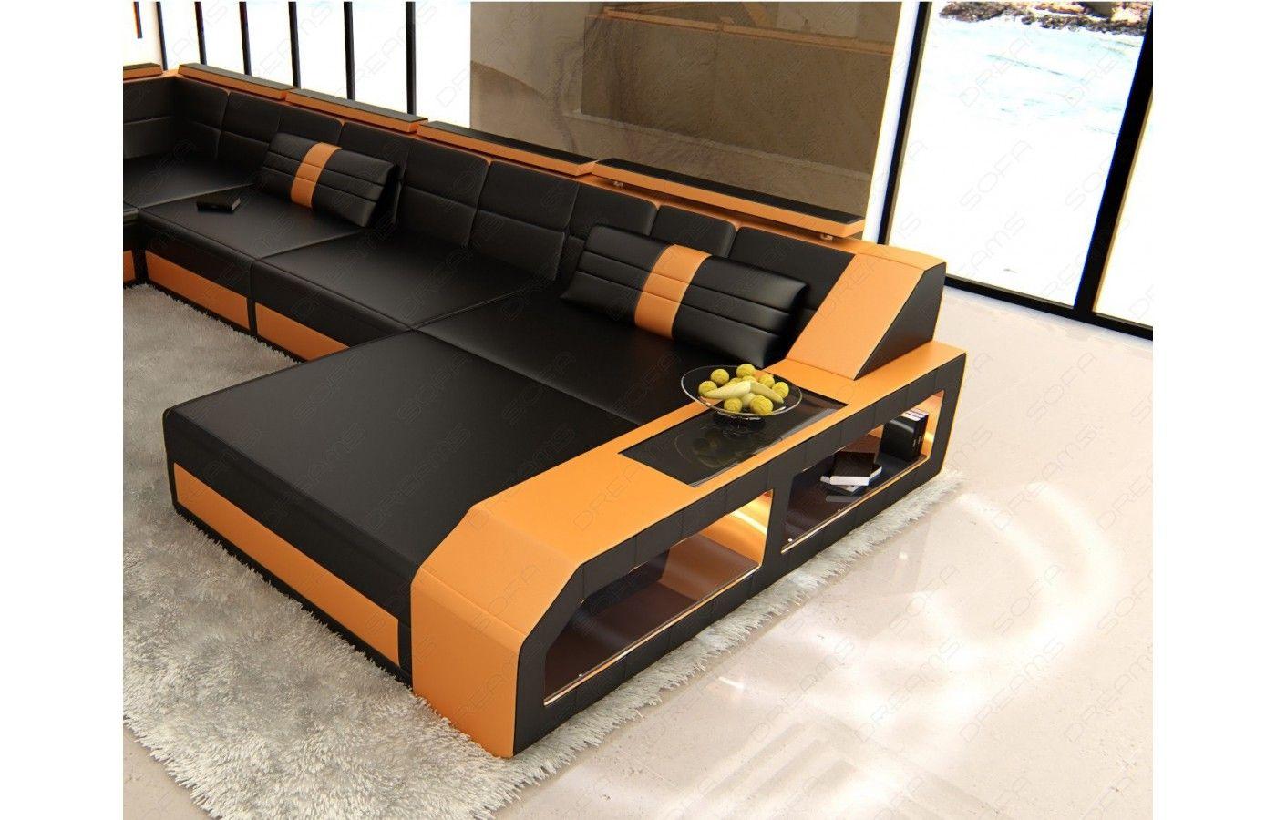 Lovely XXL Leder Wohnlandschaft MATERA LED in schwarz orange Exklusiv bei Sofa Dreams