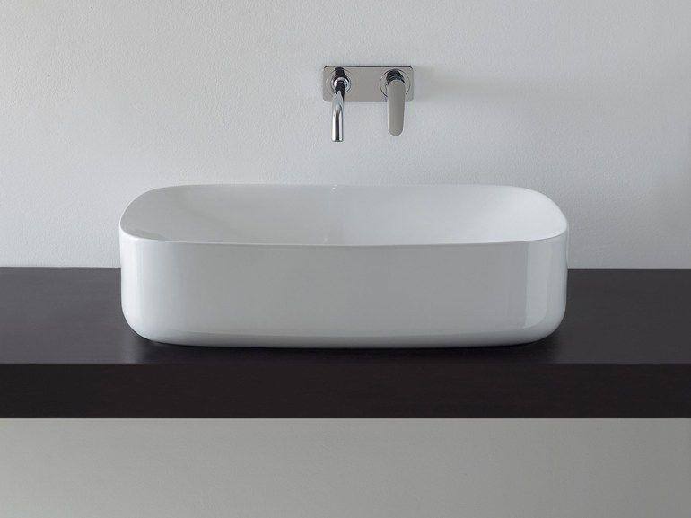 Scarabeo Waschbecken lavabo da appoggio rettangolare in ceramica moon by scarabeo