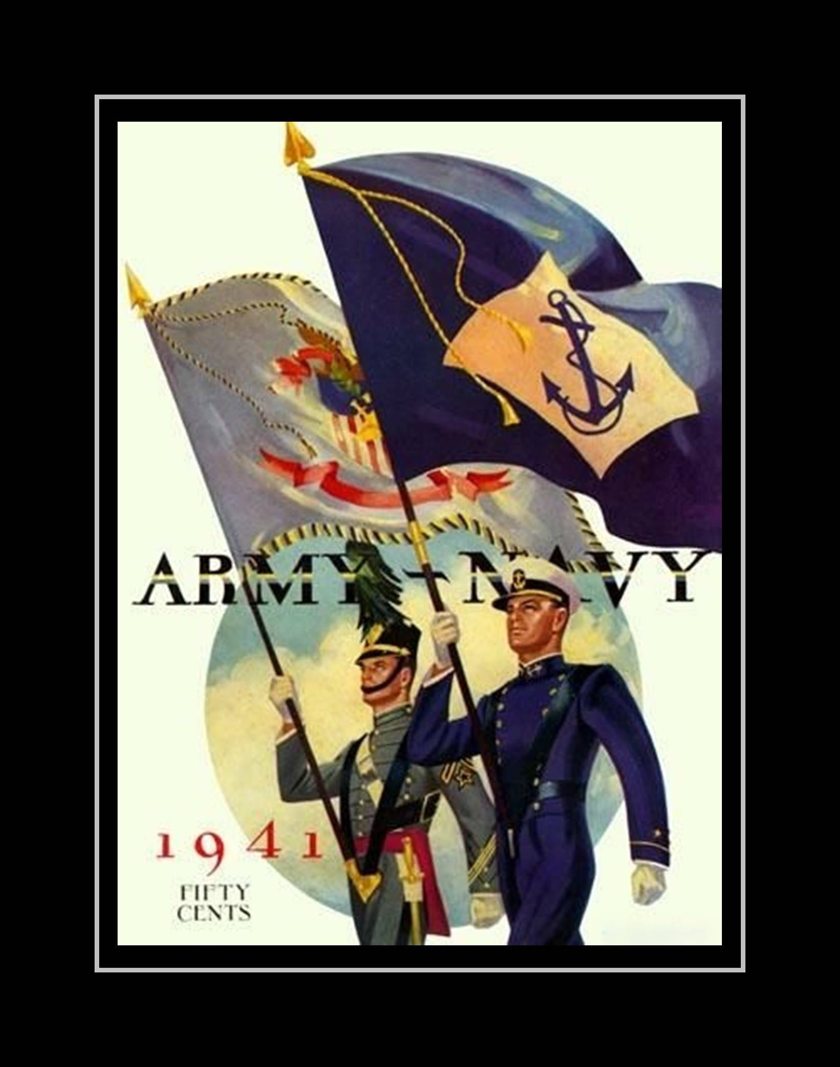 Vintage 1941 Army Navy Football Poster, Gift for Men