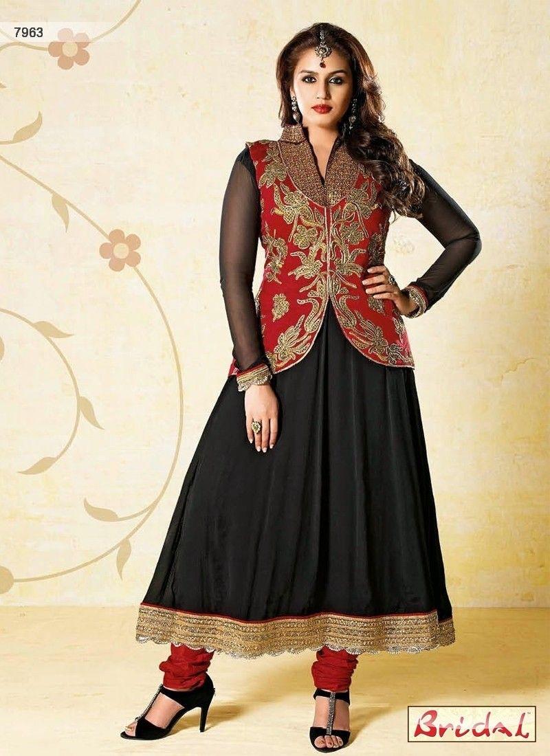 black-red-fancy-jacket-anarkali-dress.jpg (800×1100) | Fashion ...