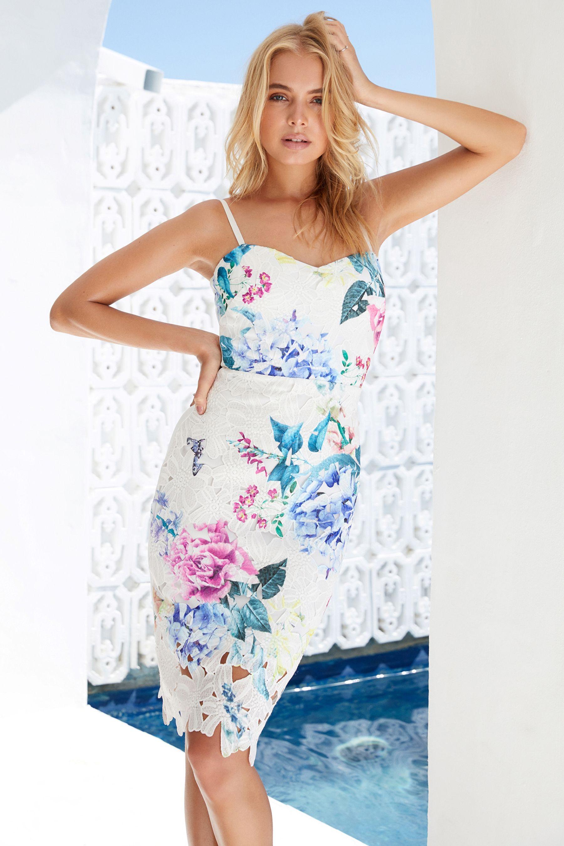 724e580ef69 Womens Lipsy Georgina Print Lace Cami Dress - White