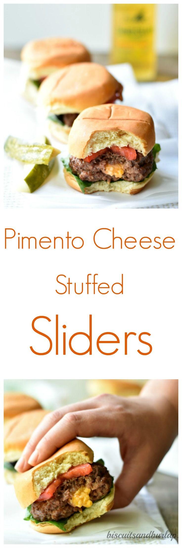 Pimento Cheese-Stuffed Sliders #tailgatefood
