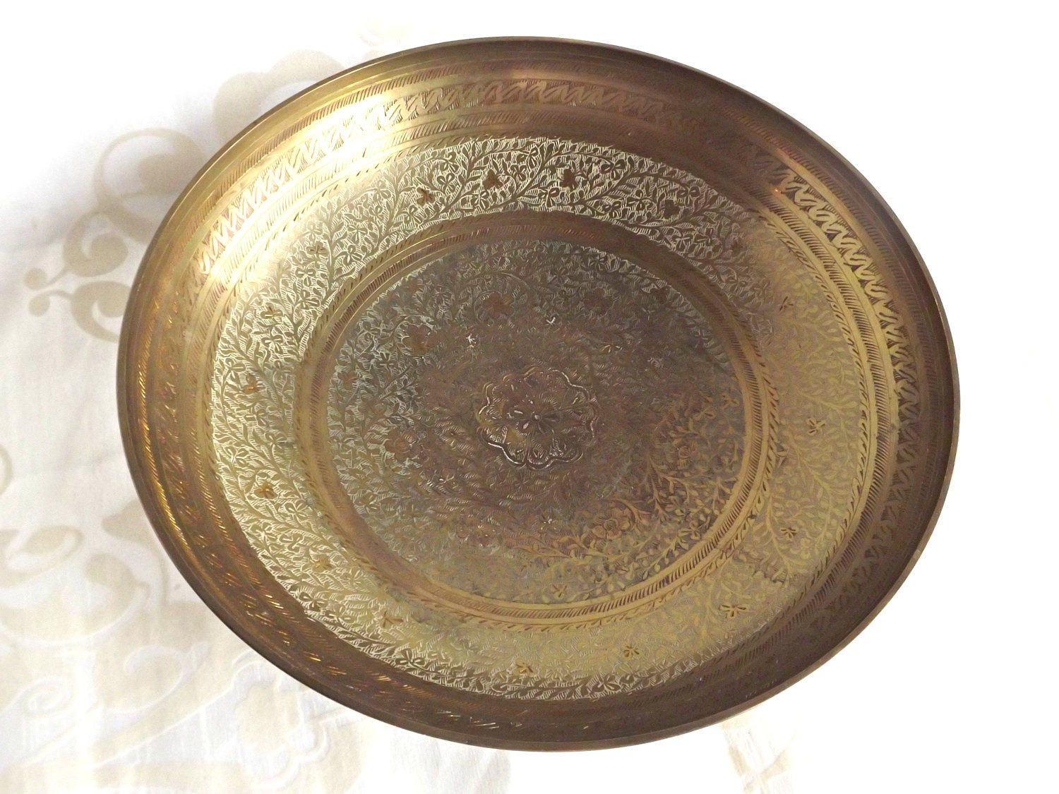 Brass Pedestal Bowl, Vintage Brass, Retro Brass Bowl, Made In India, Home