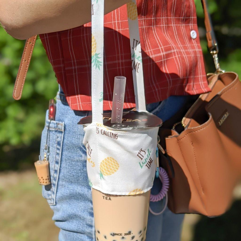 Bubble tea holder w straw holder boba carrier drink