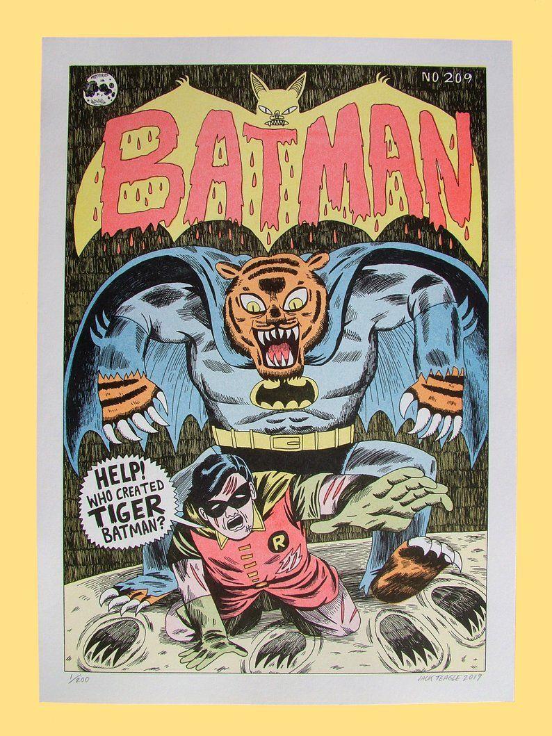 Tiger Batman A3 Risograph Print Etsy Book cover art