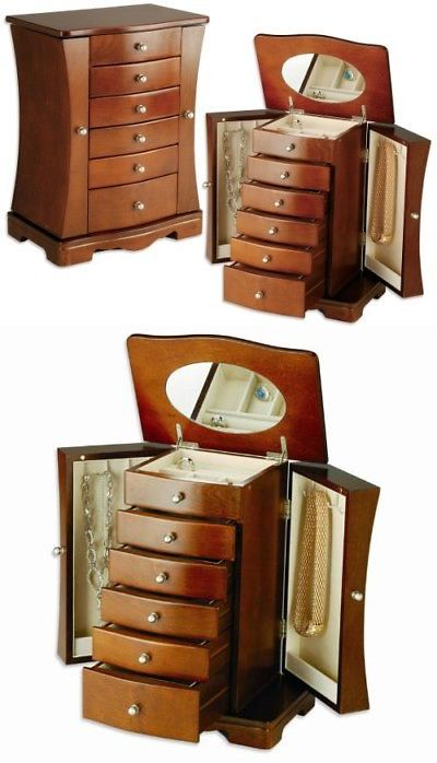 Jewelry Boxes 3820 Seya Modern Wooden Jewelry Box Organizer With