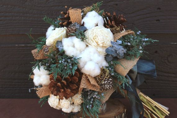 Rustic Wedding Bouquet Winter By SmokyMtnWoodcrafts