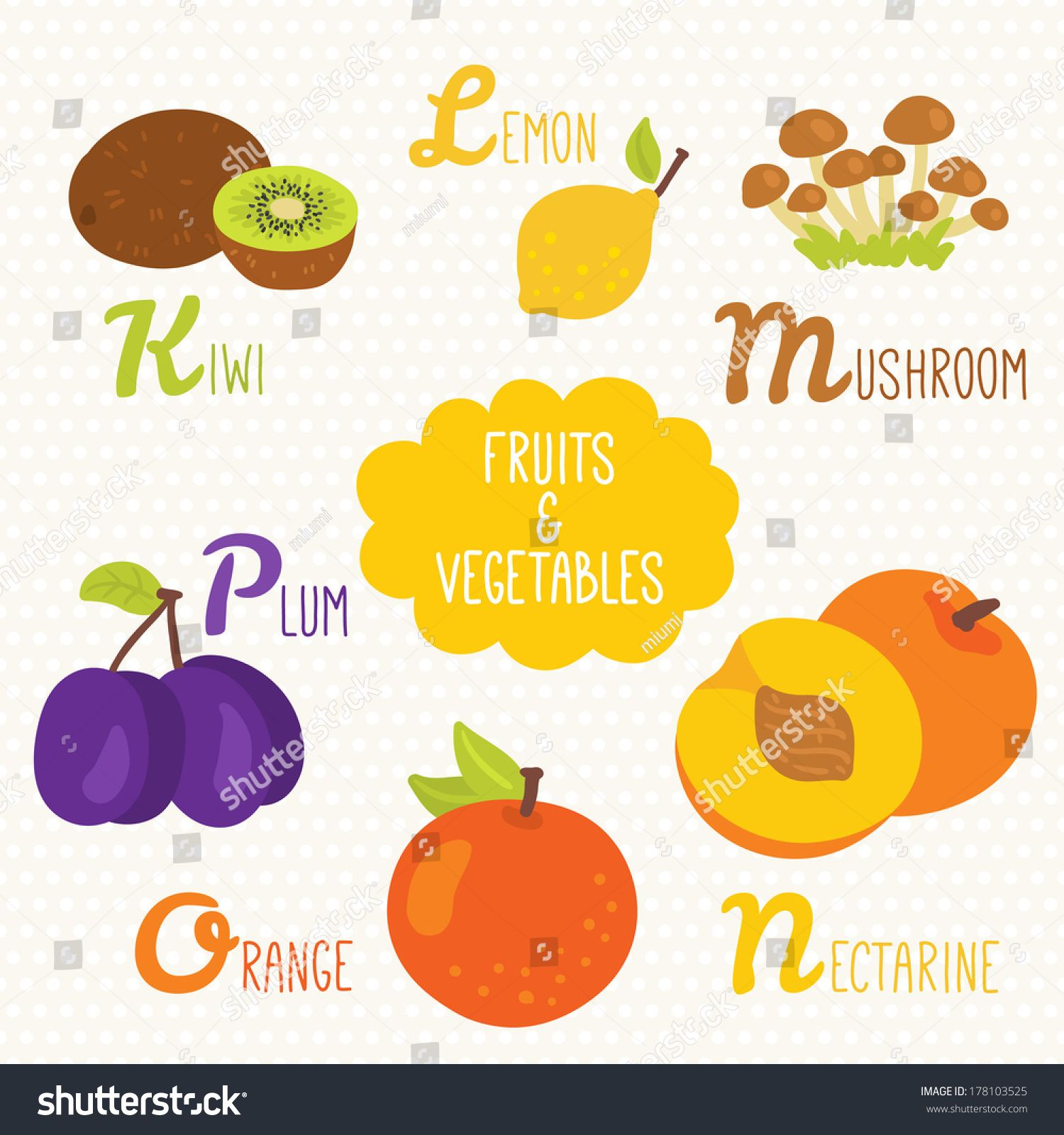 Alphabet for kids with fruits and vegetables. Letters K, L, M, N