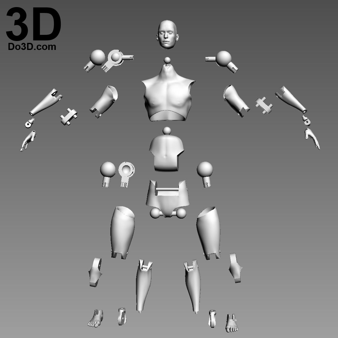 3D Printable Model Articulated Action Figure Toy With
