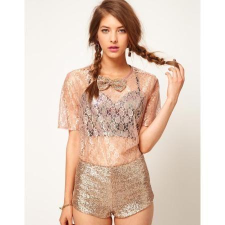 gold lace top, women's fashion