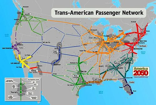 High Speed Rail Networks Suggested By Megaregions By America 2050 - Map-of-us-rail-network