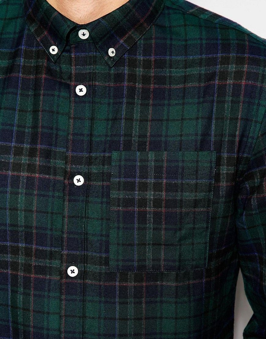 6adcdc85f79 Image 3 of River Island Check Shirt In Navy And Green In Regular Fit ...